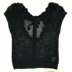 Anthro Knitted & Knotted Black Crochet Crop Top